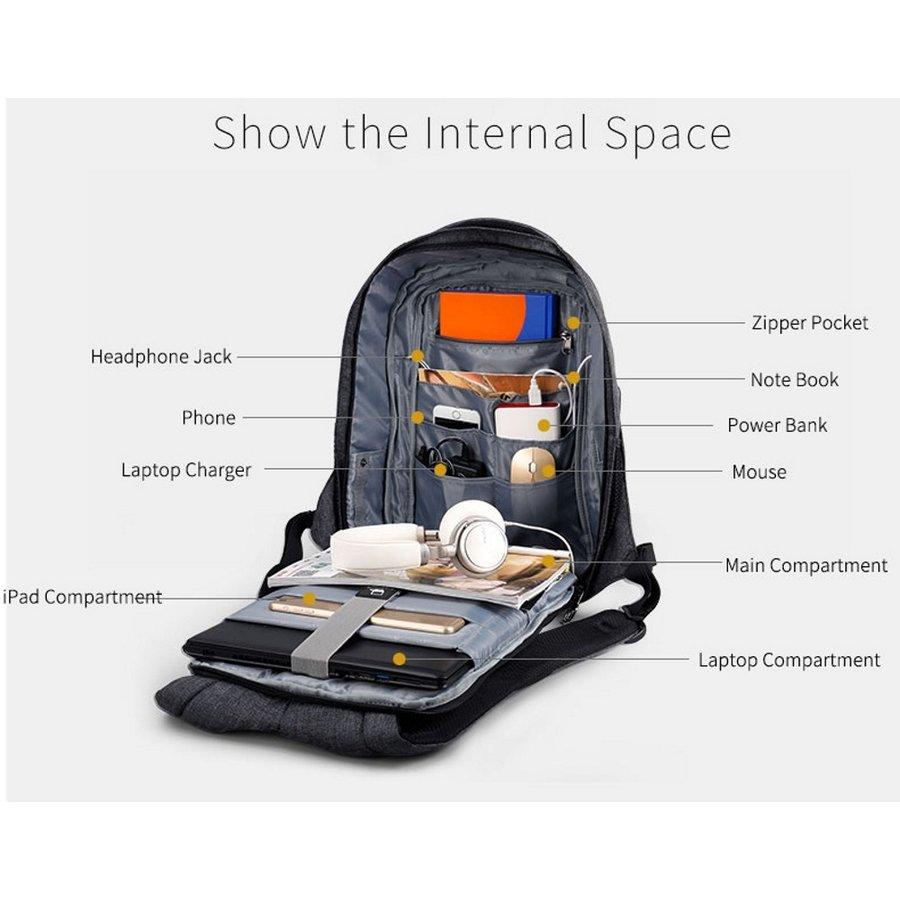 Anti-Diefstal Laptop rugzak 12,5 tot 16 inch - Grey - T-B3237-3