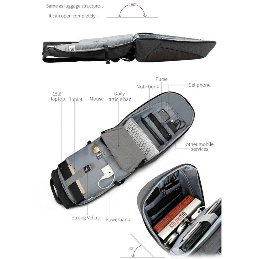 Anti-Diefstal Laptop rugzak 15, inch + Crossbodytas Black/Grey-4
