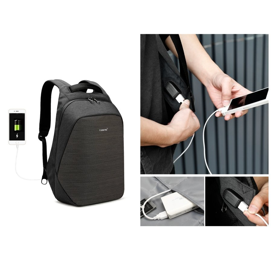 Anti-Diefstal Laptop rugzak 15, inch + Crossbodytas Black/Grey-5