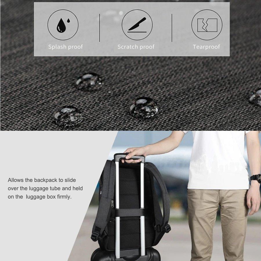 Anti-Diefstal Laptop rugzak 15, inch + Crossbodytas Black/Grey-6