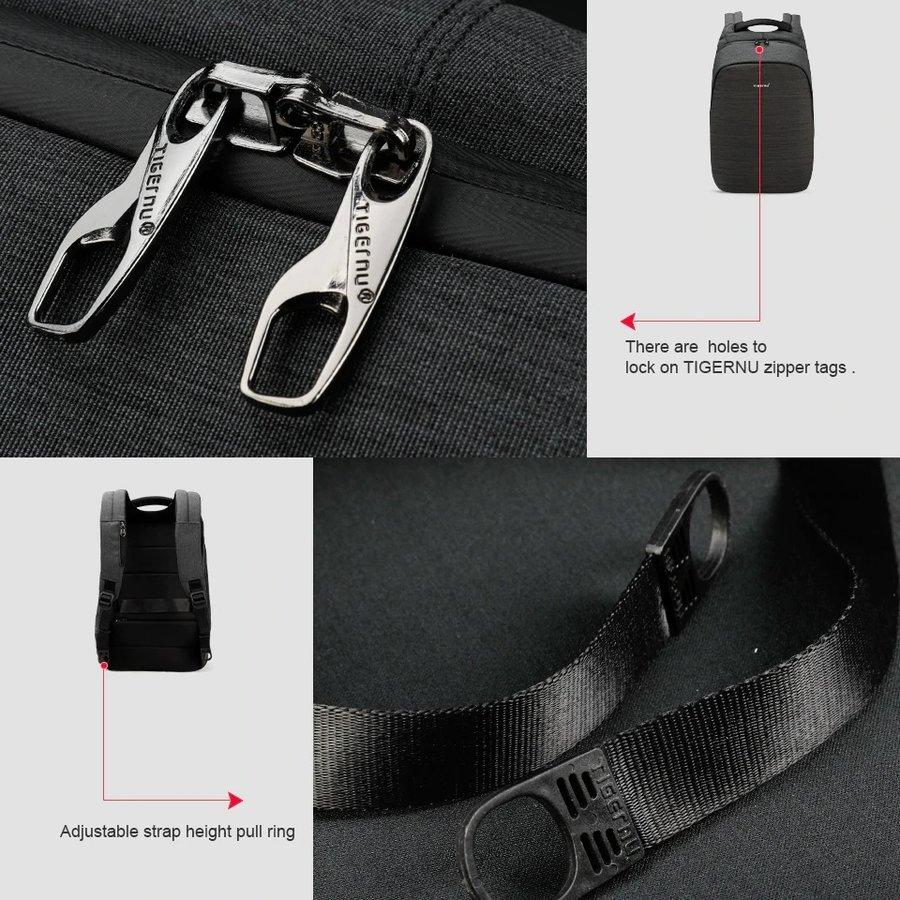 Anti-Diefstal Laptop rugzak 15, inch + Crossbodytas Black/Grey-8