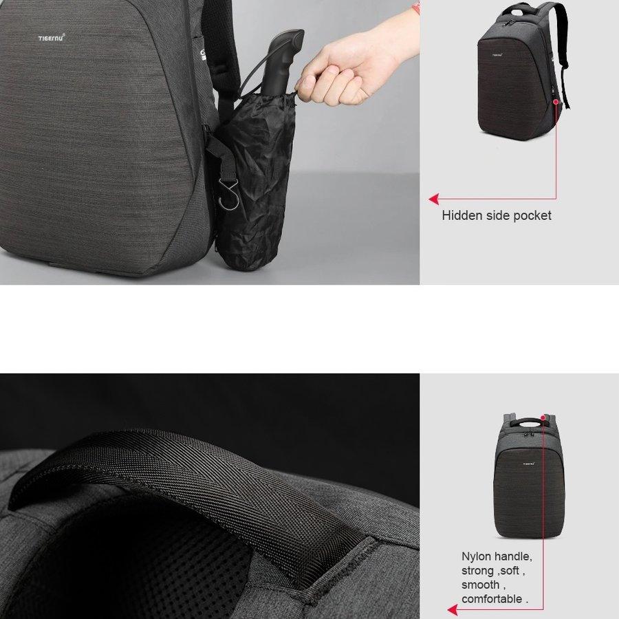 Anti-Diefstal Laptop rugzak 15, inch + Crossbodytas Black/Grey-9