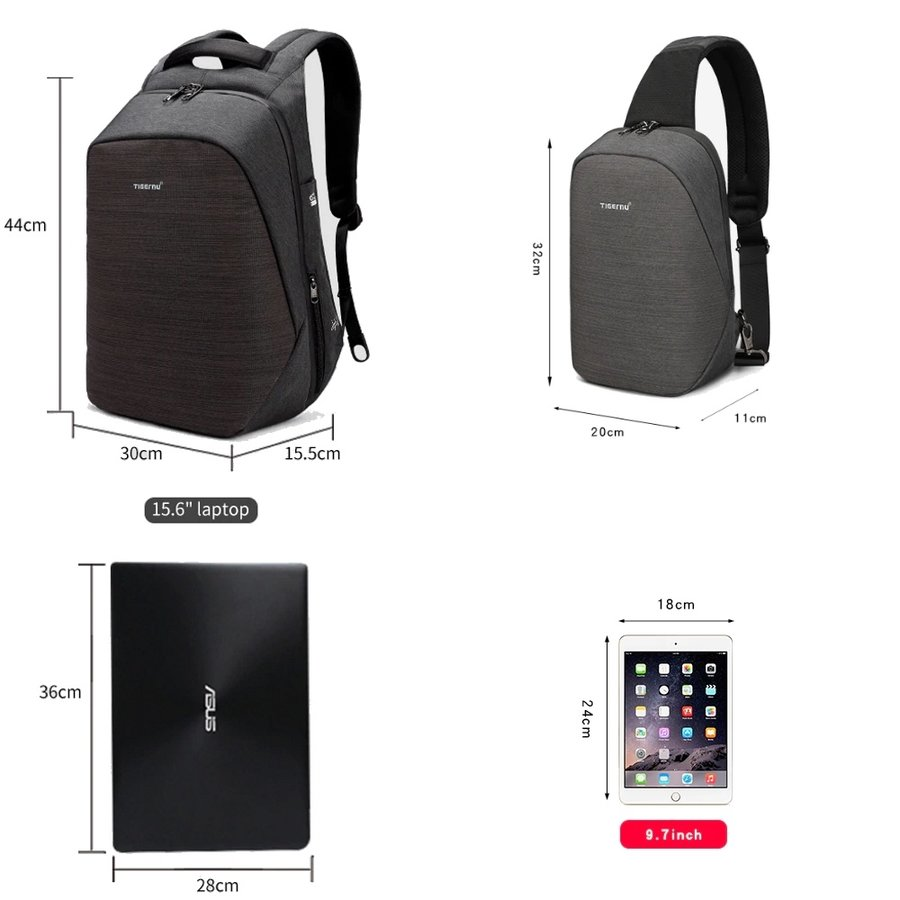 Anti-Diefstal Laptop rugzak 15, inch + Crossbodytas Grey-5