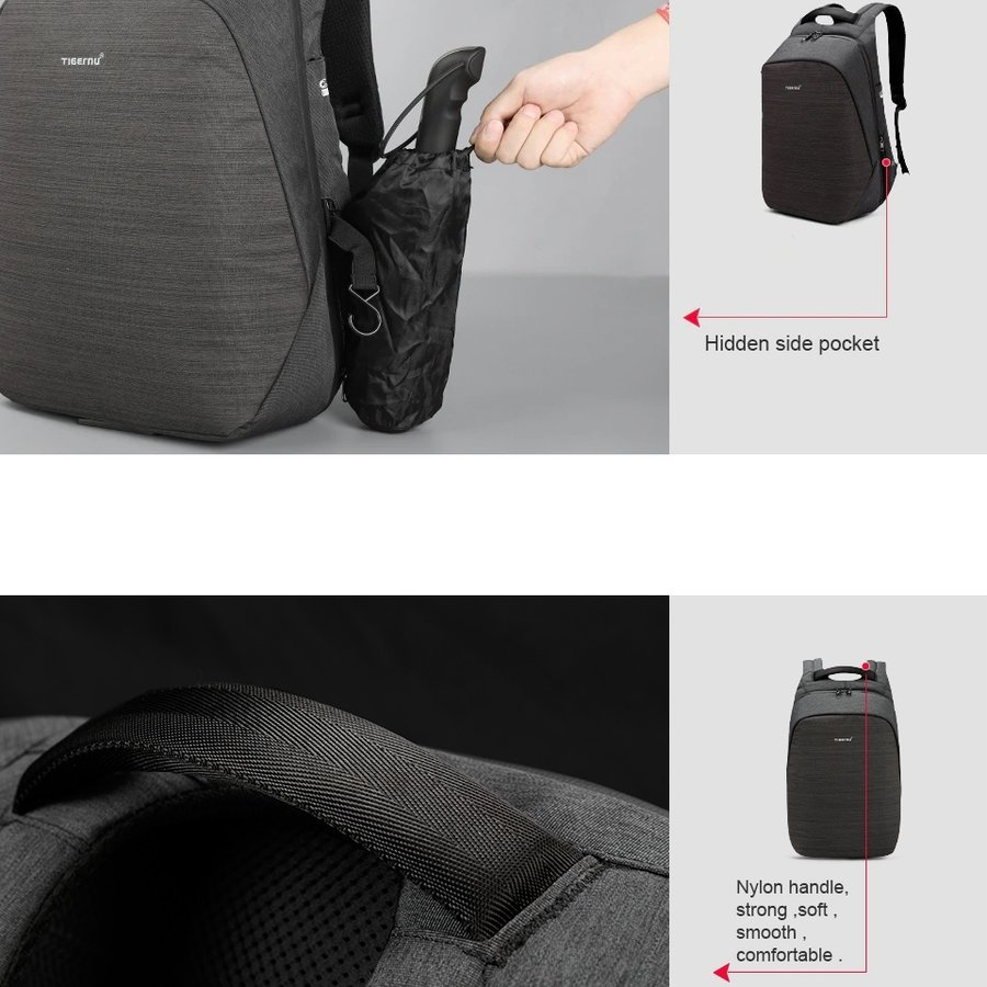 Anti-Diefstal Laptop rugzak 15, inch + Crossbodytas Grey-10