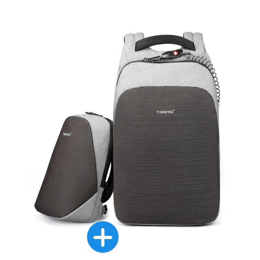 Tigernu - Anti-Diefstal Laptop rugzak 15, inch + Crossbodytas Grey-1