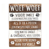 "BonTon Houten Tekstplank / Tekstbord 40x30cm ""Woef Woef..."" - Kleur Naturel en Antique White"