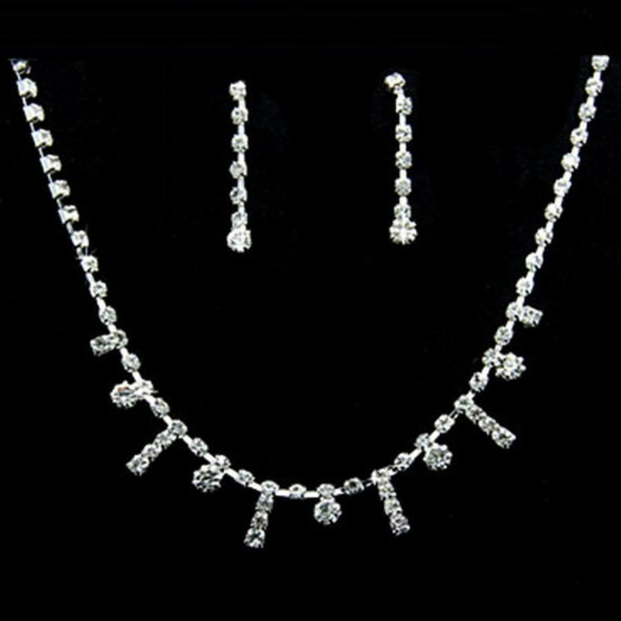 SALE - Chique Verstelbare Kristallen Bruidsketting met Bijpassende Oorbellen-1
