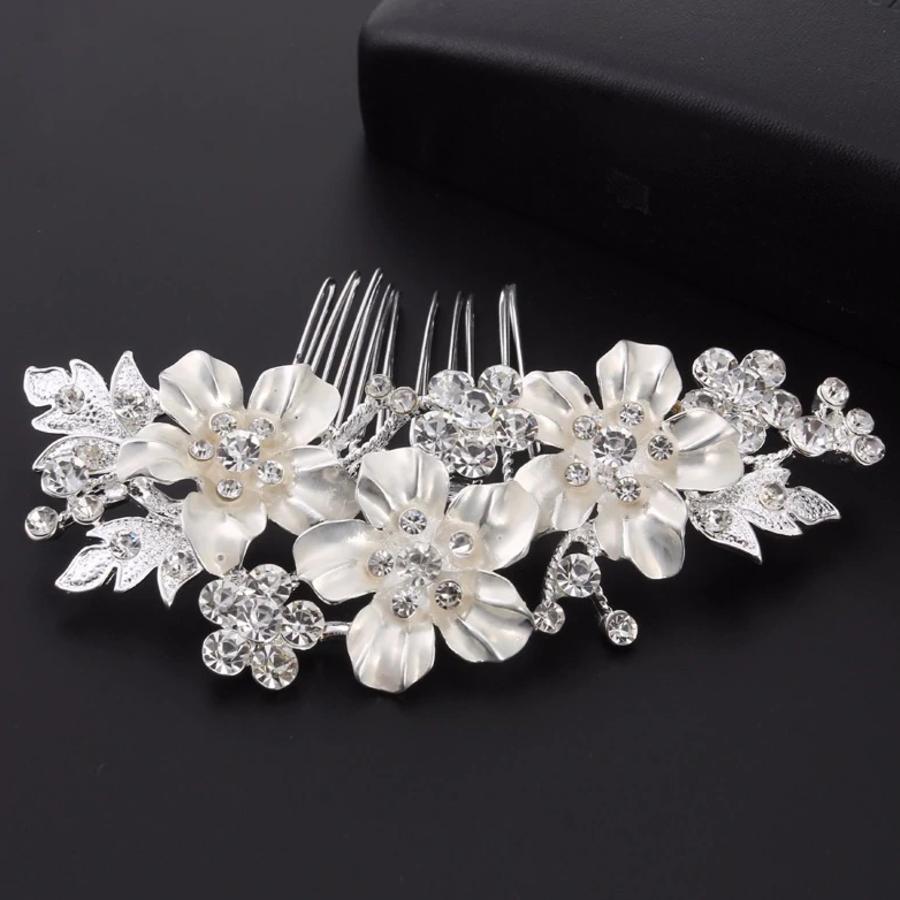 Zilverkleurige Haarkam met Bloemen en Kristallen-1