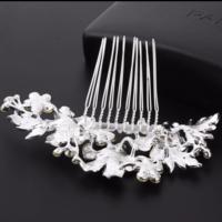 thumb-PaCaZa - Zilverkleurige Haarkam met Bloemen en Kristallen-5