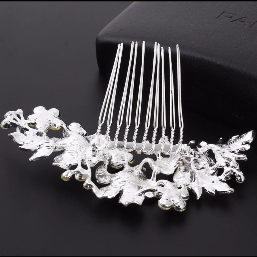 Zilverkleurige Haarkam met Bloemen en Kristallen-5