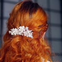 thumb-Zilverkleurige Haarkam met Bloemen en Kristallen-3
