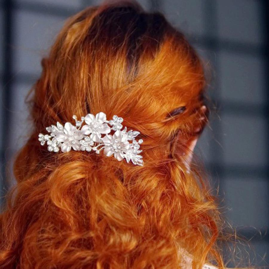 Zilverkleurige Haarkam met Bloemen en Kristallen-3