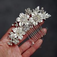 thumb-Zilverkleurige Haarkam met Bloemen en Ivoorkleurige Parels-6