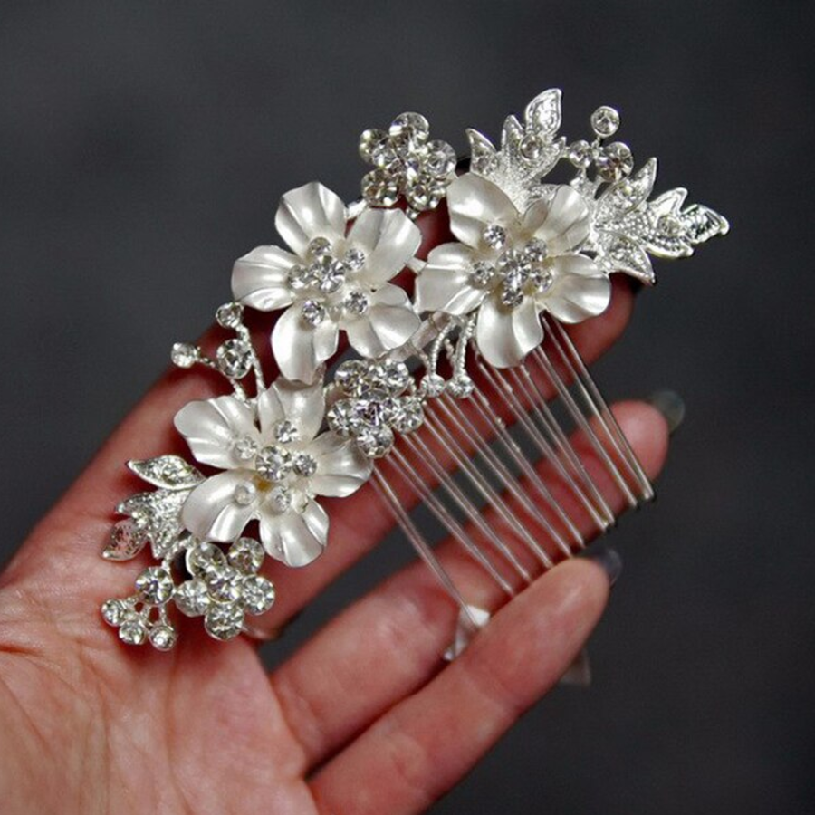 Zilverkleurige Haarkam met Bloemen en Ivoorkleurige Parels-6
