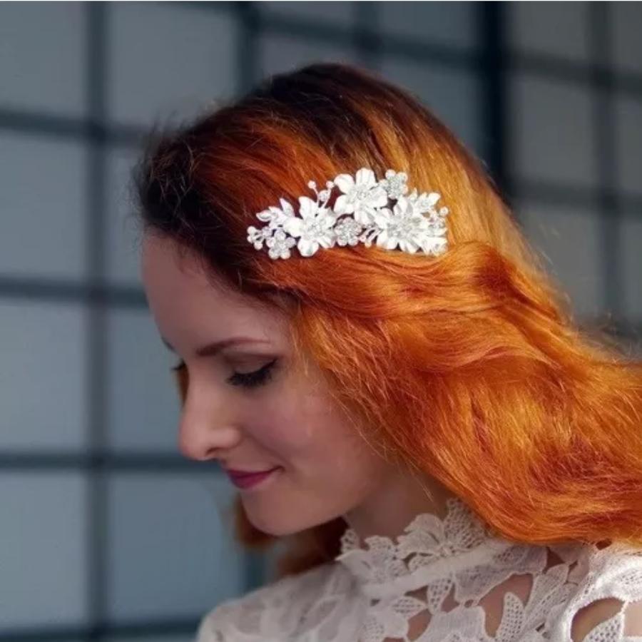 Zilverkleurige Haarkam met Bloemen en Ivoorkleurige Parels-4