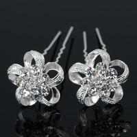 thumb-PaCaZa - Zilverkleurige Hairpins - Flower - 2 Stuks-1