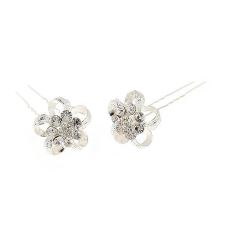 Zilverkleurige Hairpins - Flower - 2 Stuks-2