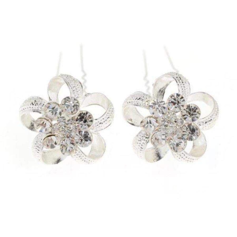 Zilverkleurige Hairpins - Flower - 2 Stuks-3