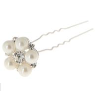 thumb-Zilverkleurige Hairpins met Ivoor - Flower - 2 Stuks-2