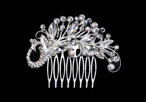 Zilverkleurige Haarkam bezet met fonkelende kristallen