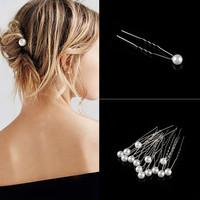 thumb-PaCaZa - Zilverkleurige Hairpins - Ivoorkleurige Parel - 5 stuks-2