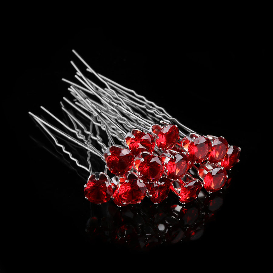 PaCaZa - Zilverkleurige Hairpins met Rode Kristal - 4 Stuks-3