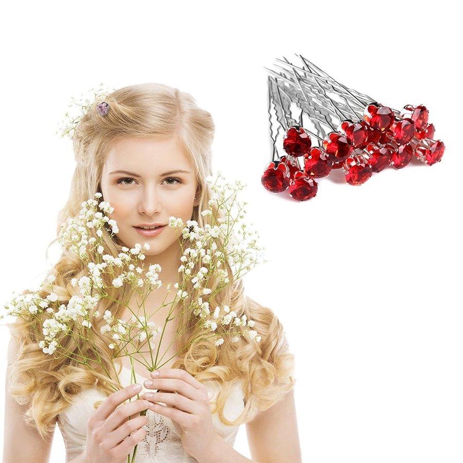 PaCaZa - Zilverkleurige Hairpins met Rode Kristal - 4 Stuks-2