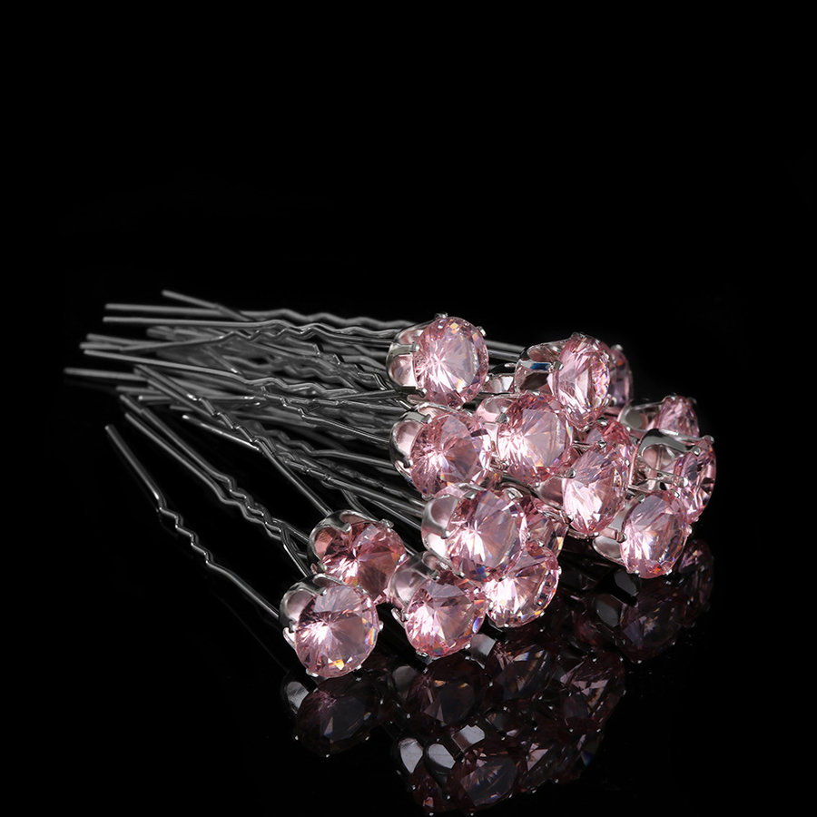 Zilverkleurige Hairpins met Zalmkleurige Kristal - 4 Stuks-3