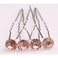 thumb-Zilverkleurige Hairpins met Zalmkleurige Kristal - 4 Stuks-1