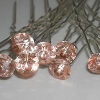 thumb-Zilverkleurige Hairpins met Zalmkleurige Kristal - 4 Stuks-2