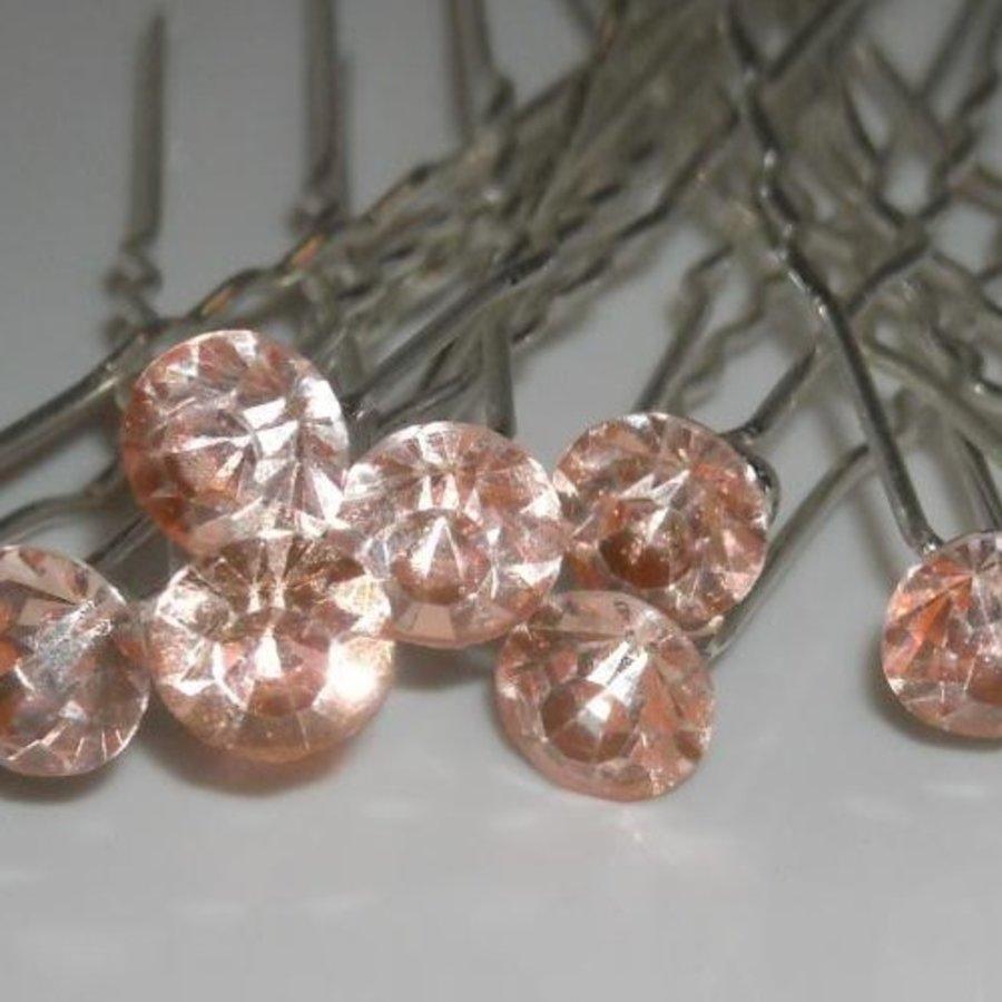 Zilverkleurige Hairpins met Zalmkleurige Kristal - 4 Stuks-2