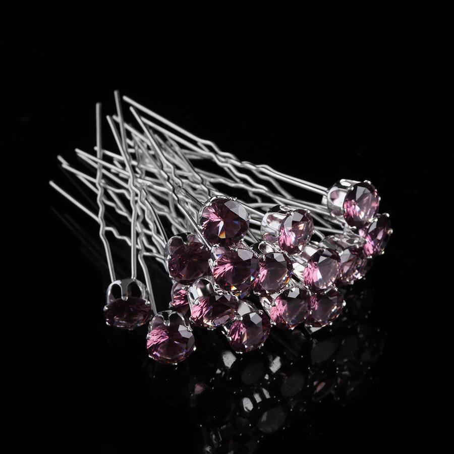 Zilverkleurige Hairpins met Donker Paarse Kristal - 4 Stuks-1