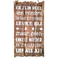 """Houten Tekstplank / Tekstbord 55x30cm """"Er zijn heel veel moeders..."""" - Kleur Naturel"""