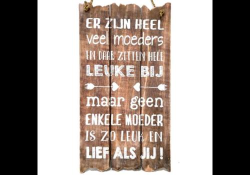 """Houten Tekstplank / Tekstbord 55 x 30 cm """"Er zijn heel veel moeders..."""" - Kleur Naturel"""