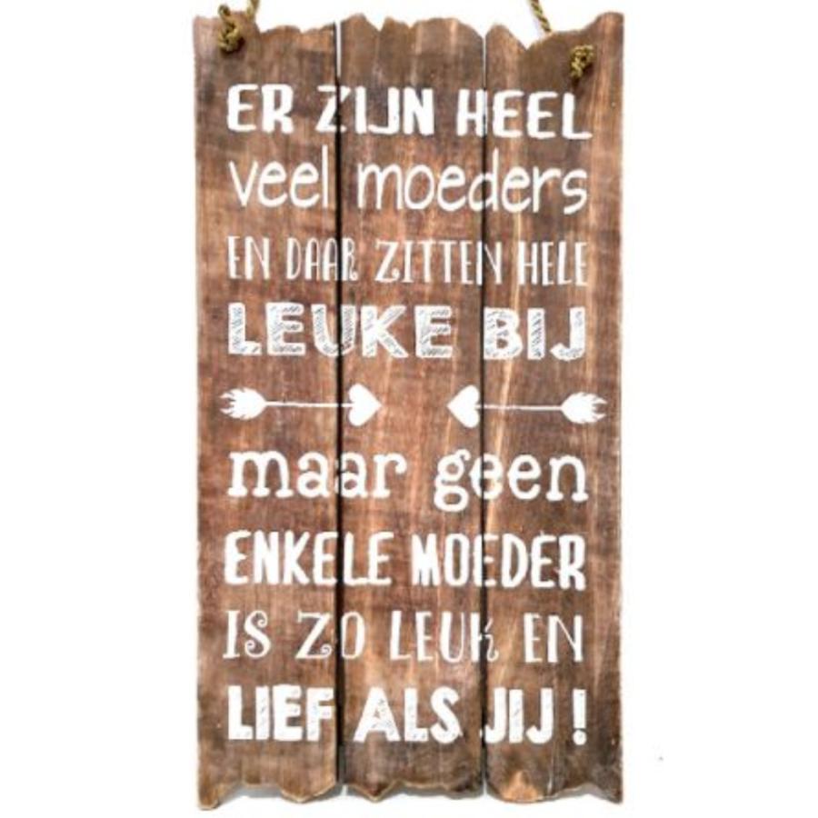 """Houten Tekstplank / Tekstbord 55x30cm """"Er zijn heel veel moeders..."""" - Kleur Naturel-1"""
