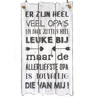 """BonTon - Houten Tekstplank / Tekstbord 55 x 30 cm """"Er zijn heel veel opa's..."""" - Kleur Antique White"""