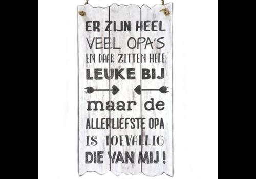 """Houten Tekstplank / Tekstbord 55 x 30 cm """"Er zijn heel veel opa's..."""" - Kleur Antique White"""