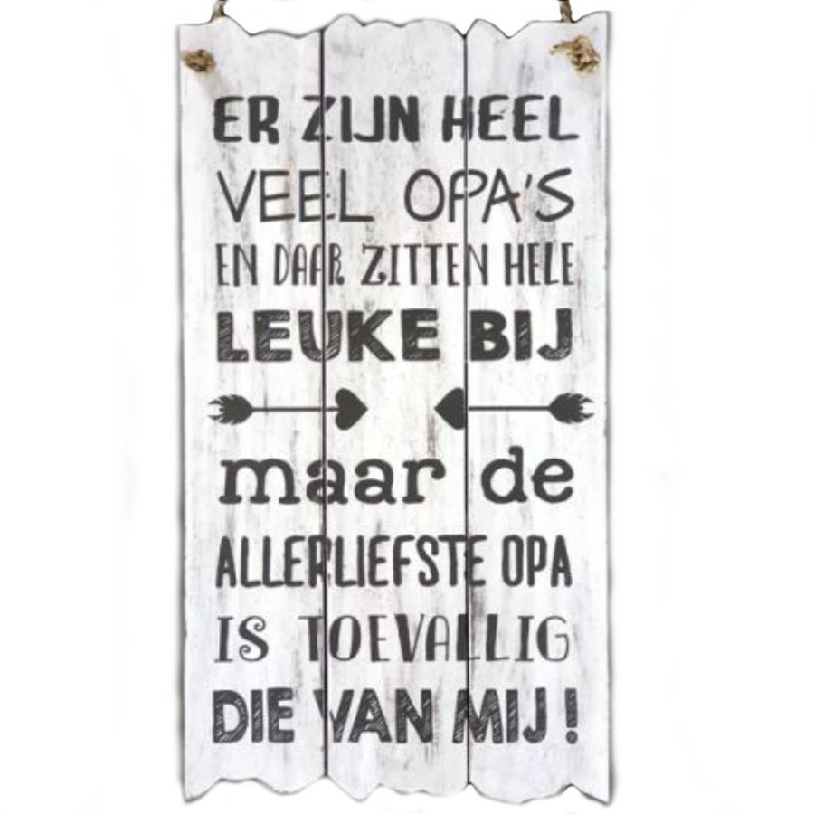 """BonTon - Houten Tekstplank / Tekstbord 55 x 30 cm """"Er zijn heel veel opa's..."""" - Kleur Antique White-1"""