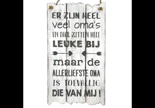 """Houten Tekstplank / Tekstbord 55 x 30 cm """"Er zijn heel veel oma's..."""" - Kleur Antique White"""