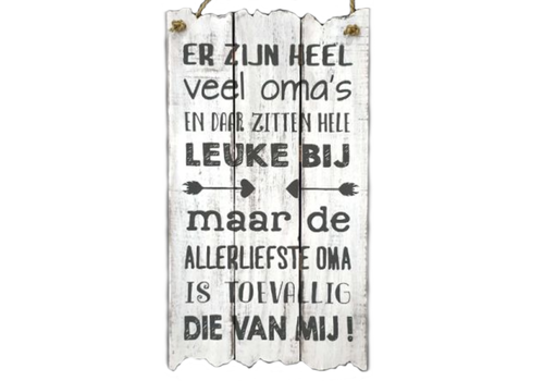 """Houten Tekstplank / Tekstbord 55x30cm """"Er zijn heel veel oma's..."""" - Kleur Antique White"""