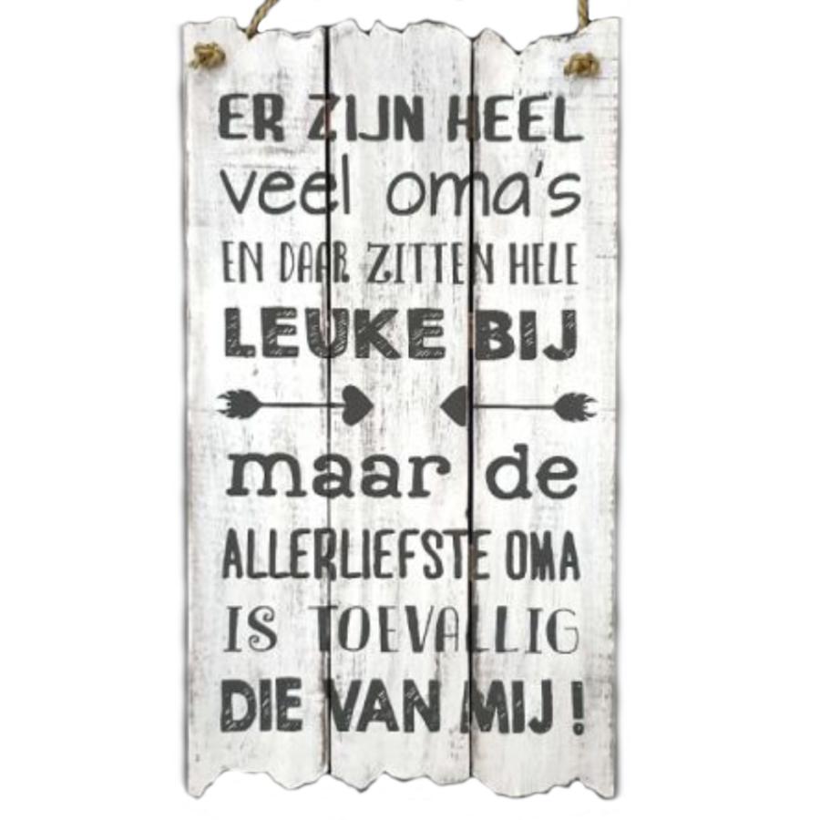"""Houten Tekstplank / Tekstbord 55x30cm """"Er zijn heel veel oma's..."""" - Kleur Antique White-1"""