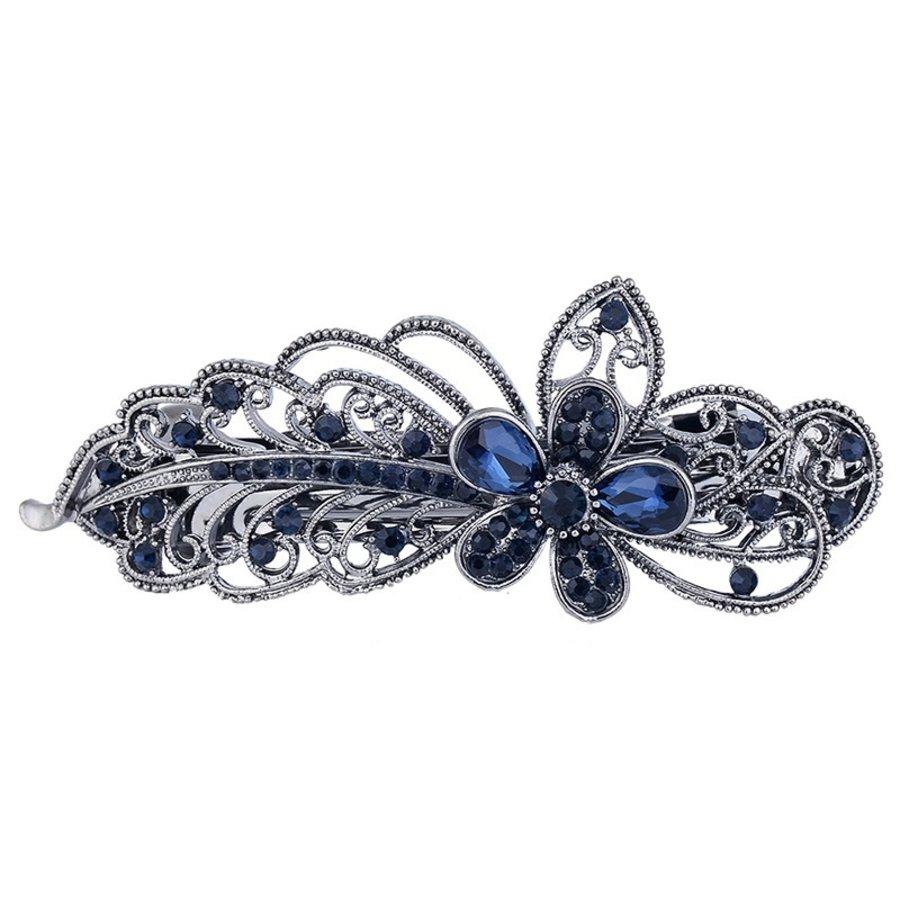 Chique Haarclip Flower  - Donker Blauw-1