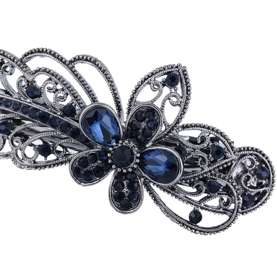 Chique Haarclip Flower  - Donker Blauw-3