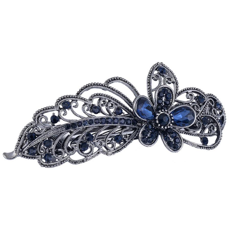 Chique Haarclip Flower  - Donker Blauw-4