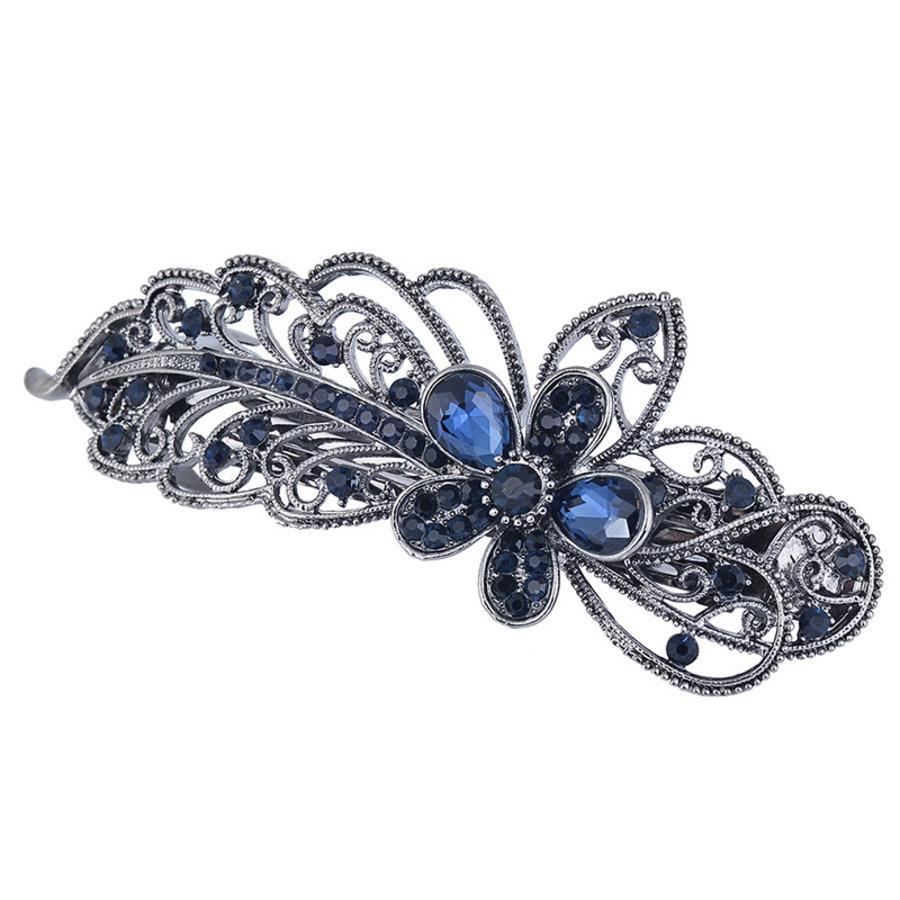 Chique Haarclip Flower  - Donker Blauw-5