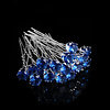 PaCaZa Zilverkleurige Hairpins met Donker Blauwe Kristal - 4 Stuks