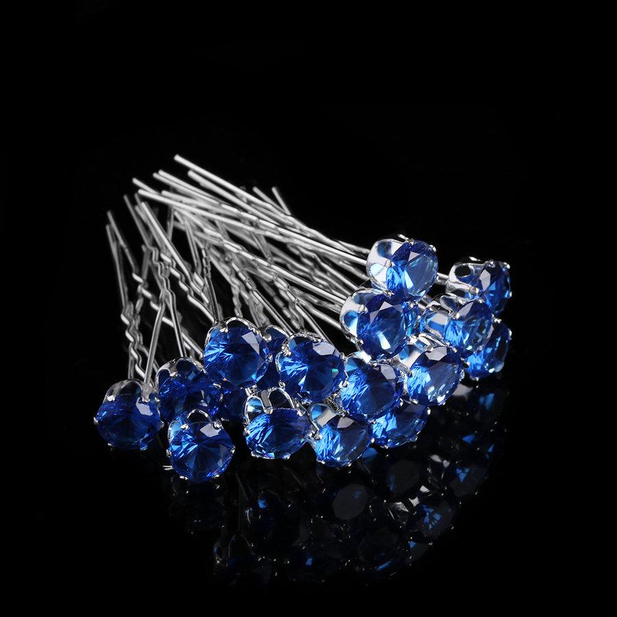 Zilverkleurige Hairpins met Donker Blauwe Kristal - 4 Stuks-1