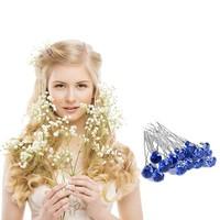 thumb-Zilverkleurige Hairpins met Donker Blauwe Kristal - 4 Stuks-2