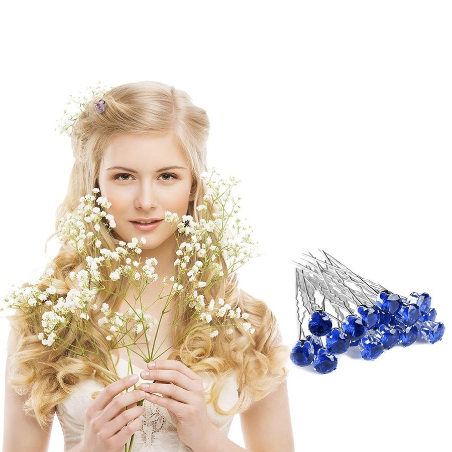 Zilverkleurige Hairpins met Donker Blauwe Kristal - 4 Stuks-2