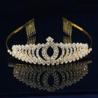 thumb-Elegante Goudkleurige Fonkelende Tiara / Kroon-1